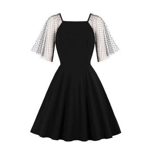 HM349 [Đầm Dự Tiệc Cho Người Mập] Đầm chữ A xòe cổ vuông tay lưới cánh tiên lửng quý phái màu đen